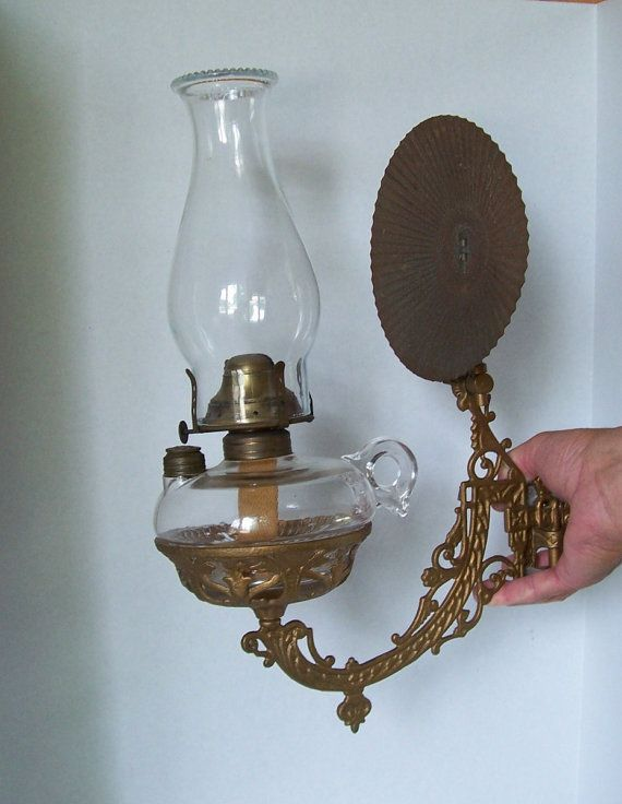 Antique Finger Oil Lamp With Cast Iron Wall Mount And Reflector By