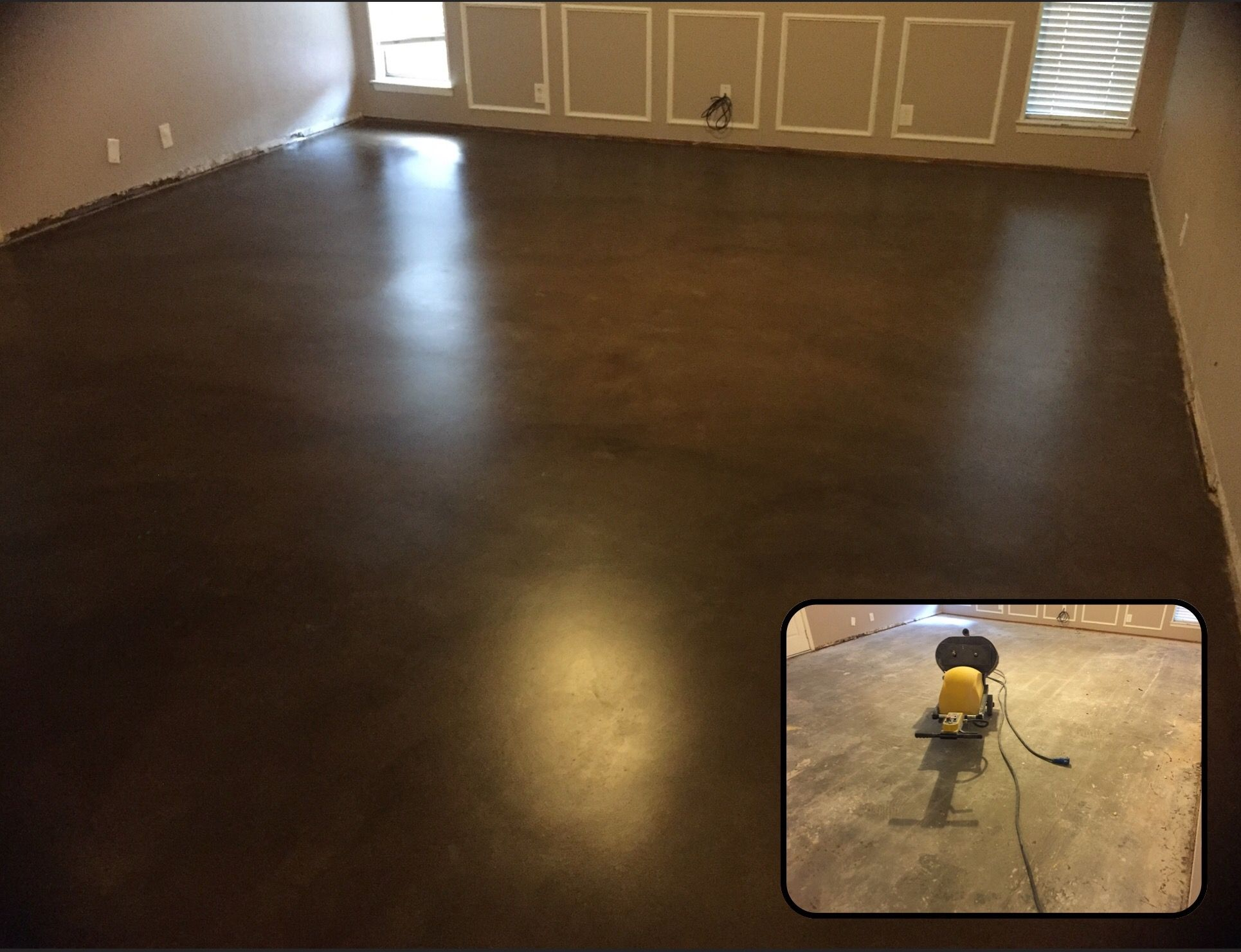 Living Room Floor Stained And Sealed Espresso Stain Color With