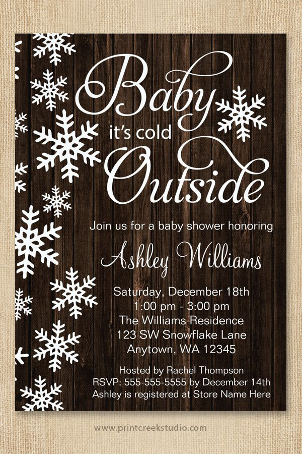 A Rustic Winter Theme Featuring White Snowflakes And Modern Script Font On Wood Background This Gender Neutral Design Is Perfect For Boy Or