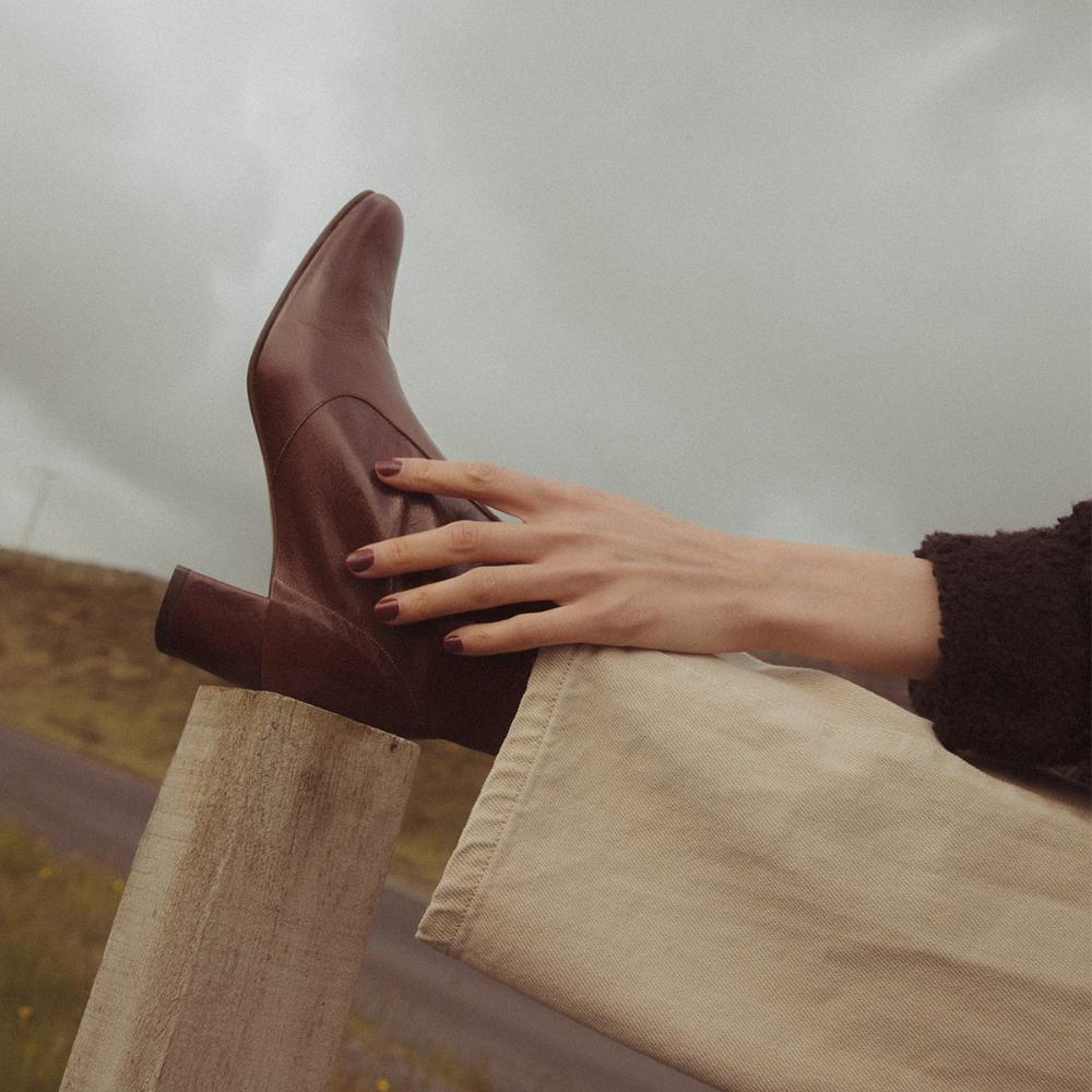 Bottines à talon Femme en cuir vieilli noir | Jonak