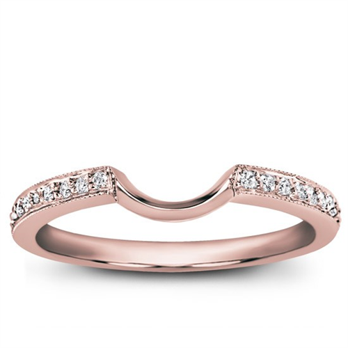 Curved Pave Set Matching Band in 18K Rose Gold Diamond
