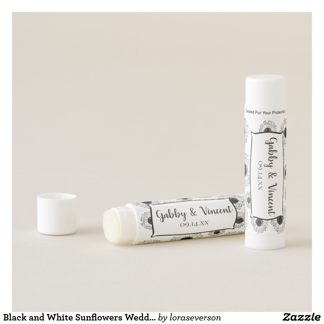 Black and White Sunflowers Wedding Favor Lip Balm Personalize and ...