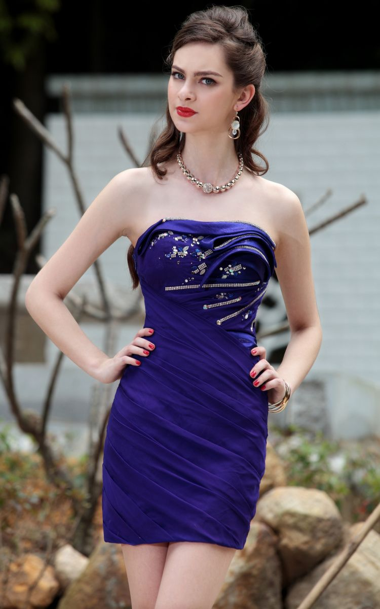 Strapeless Beaded/Floral Embellished Prom/Ball/Cocktail Party Dress ...