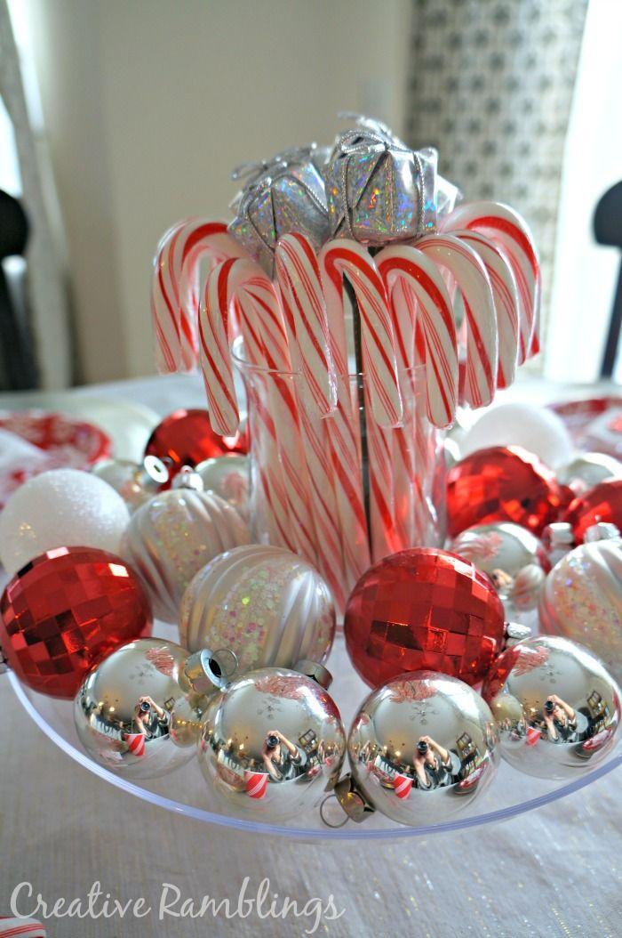 Candy Cane Christmas Decorations Ideas Festive And Inexpensive Christmas Table  Christmas Centrepieces