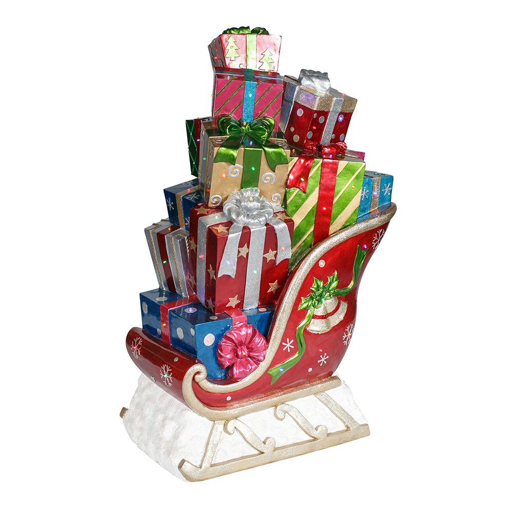 Christmas sleigh with present and led lights 119cm