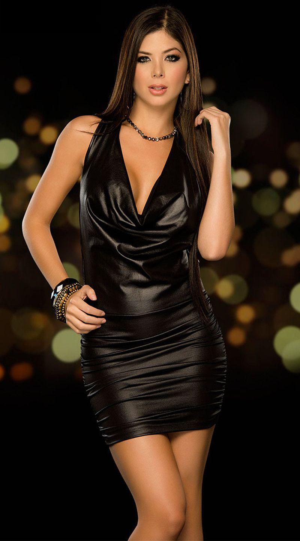 4149ff770d AZX  Sexy Backless PVC  Club  Dress Fetish Latex  Bodycon  Faux  Leather