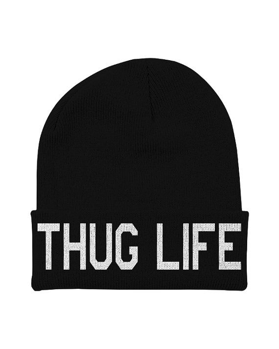 5ab7565789b Thug Life Beanie with Words Tupac Shakur Thug by CharlieParty