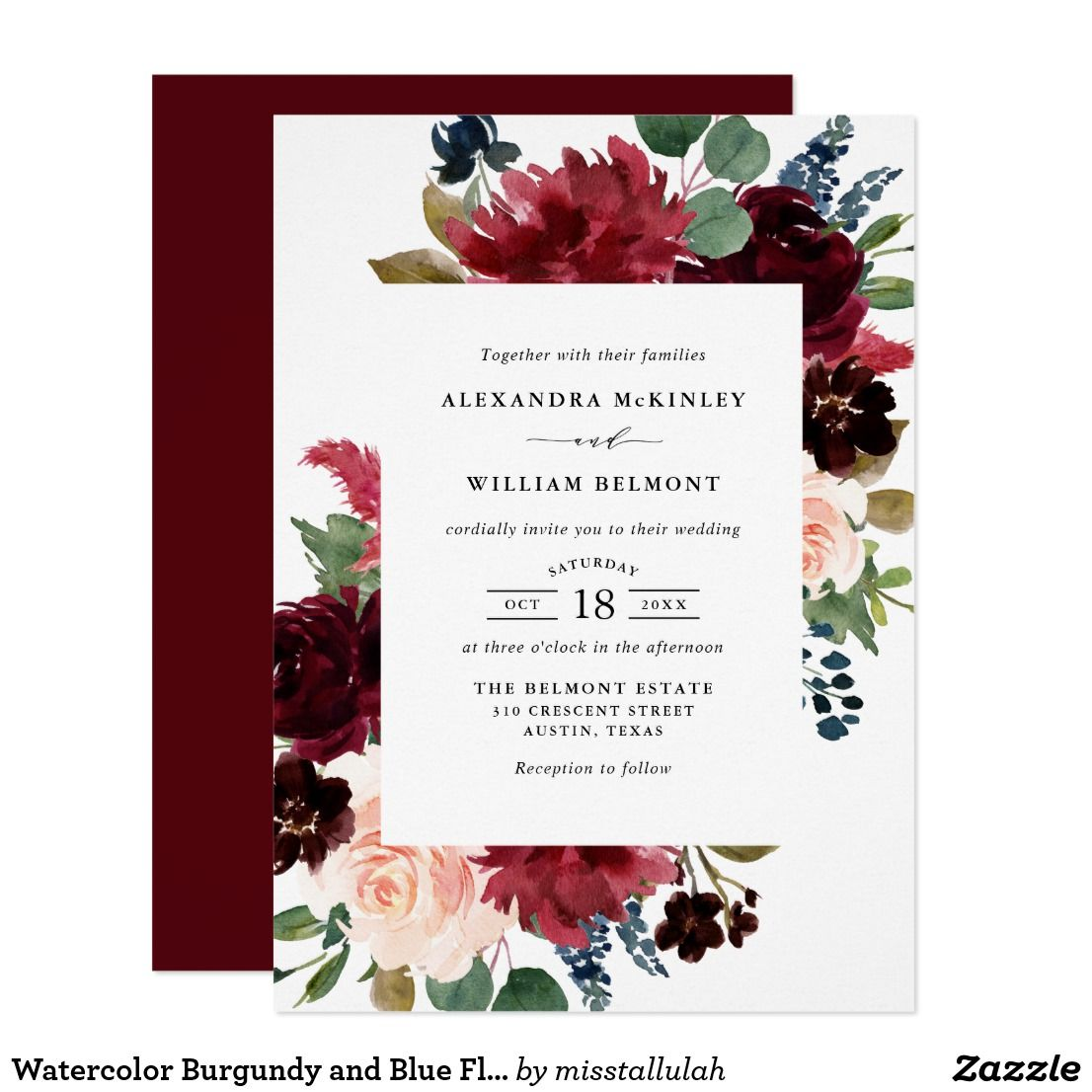 Watercolor Burgundy and Blue Flowers Wedding Invitation | Colliewood ...