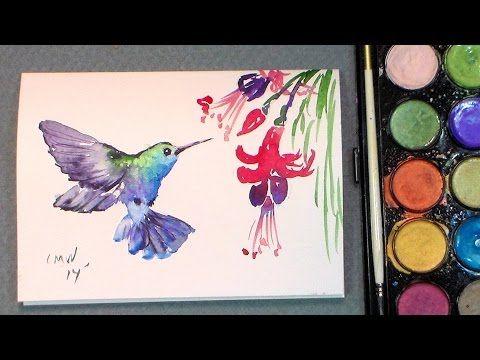 Peindre Un Colibri Aquarelle Dessin De Fleur Oiseau En
