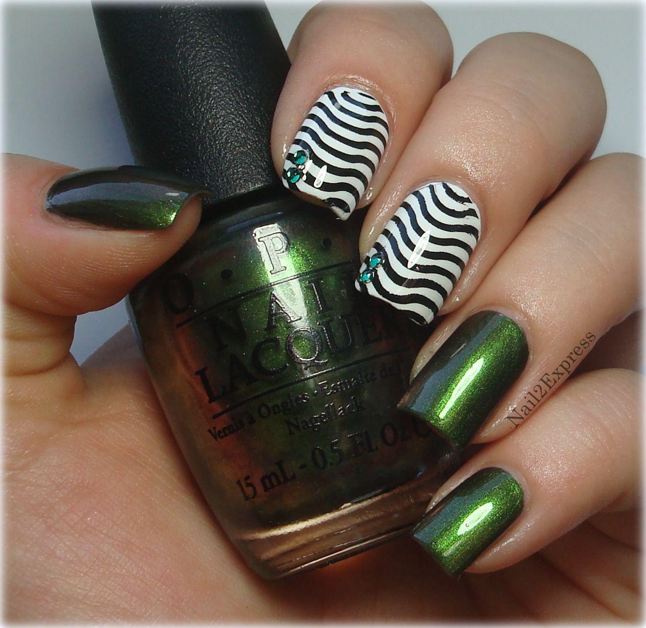 Green with konad manicure nailexpress maylenus favorite nail art