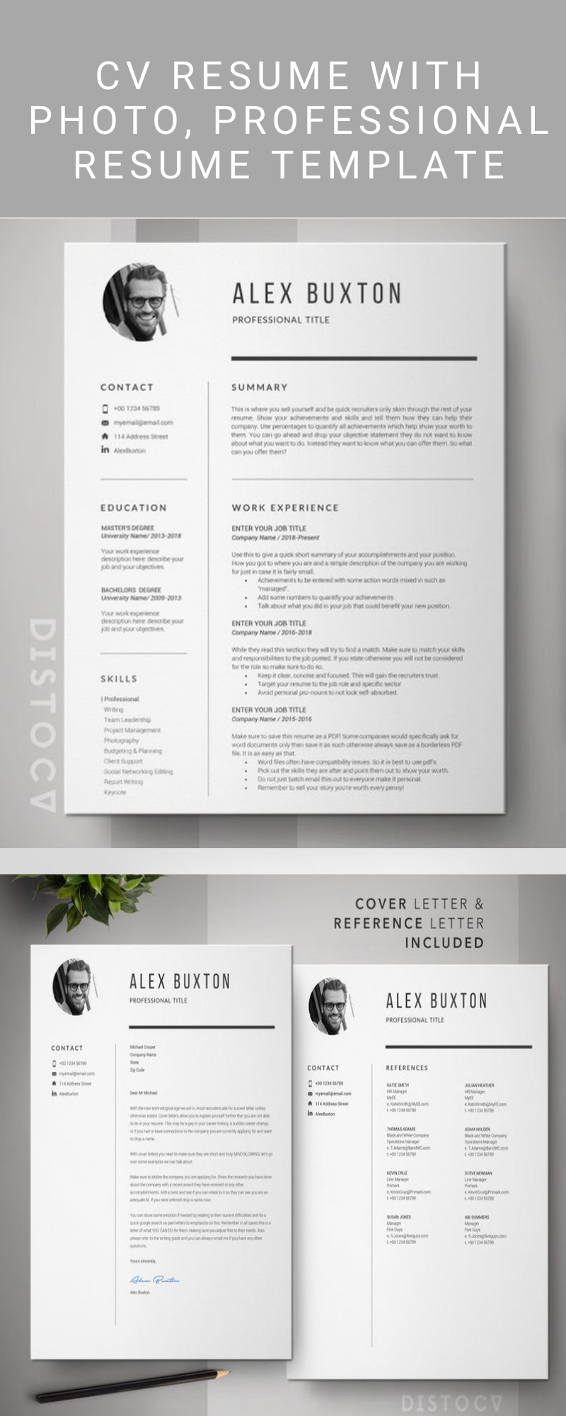 CV Resume With Photo, Professional Resume Template, CV