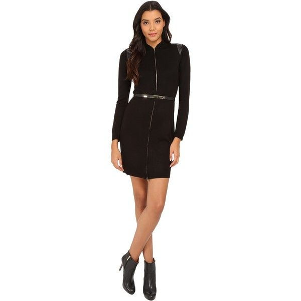 Calvin Klein Zip Front Belt Weater Dress (Black) Women's Dress (90 CAD) ❤ liked on Polyvore featuring dresses, black, little black dress, long sleeve dress, longsleeve dress, slim fit dress and zip dress
