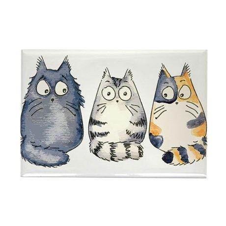 3Cats2 Kopie Rectangle Magnet Three 3 Cats Rectangle Magnet by Smillakatz-Doris Redrupp
