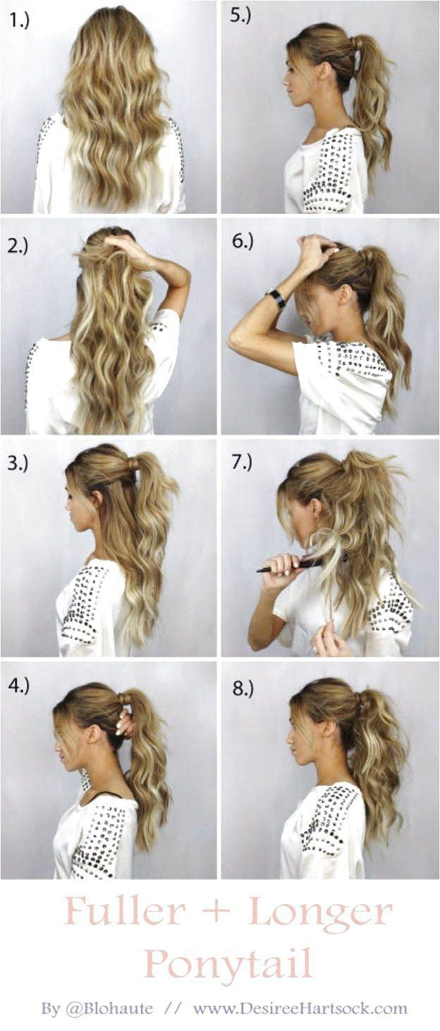 Glam Ponytail Tutorials - How To Create A Fuller   Longer Ponytail - Simple Hairstyles and Pony Tails, Messy Buns, Dutch Braids and Top Knot Updo Looks - With and Without Bobby Pins - Awesome Looks for Short Hair and Girls with Curls - thegoddess.comglam - click on the image or link for more details. #fullerponytail Glam Ponytail Tutorials - How To Create A Fuller   Longer Ponytail - Simple Hairstyles and Pony Tails, Messy Buns, Dutch Braids and Top Knot Updo Looks - With and Without Bobby Pins #fullerponytail