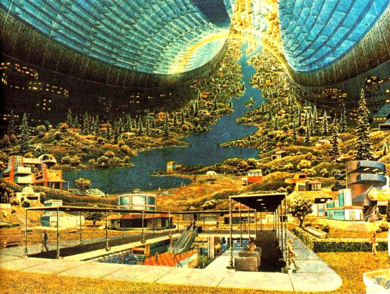 Here we are in the fourth installment of the retro futurism art collection. This time we're looking at space colonies! 'Groovy'.