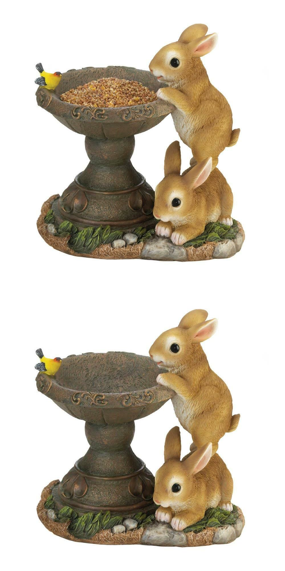 Details About Small Bunny Rabbit Raised Pedestal Bird Bath Seed