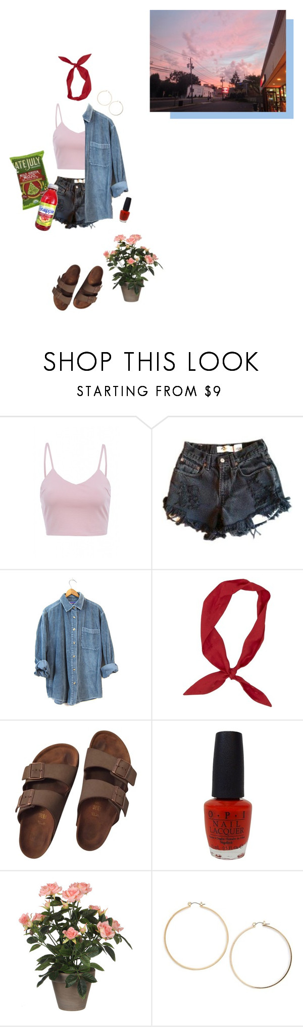 """""""snack run"""" by sensitive-pajaro ❤ liked on Polyvore featuring AX Paris, Levi's, Birkenstock, OPI, FRUIT and Topshop"""