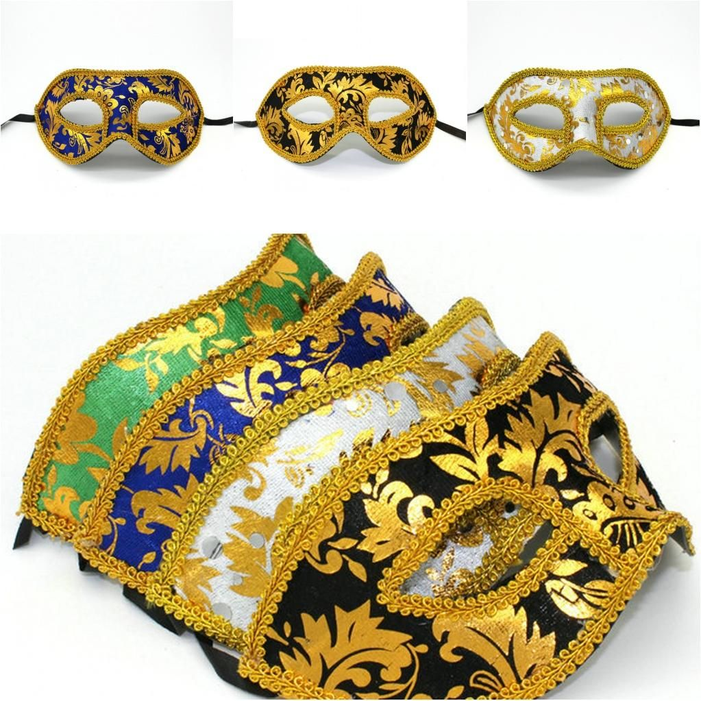 Costumes And Masks Mj012 Gold Lace Plastic Festive Party