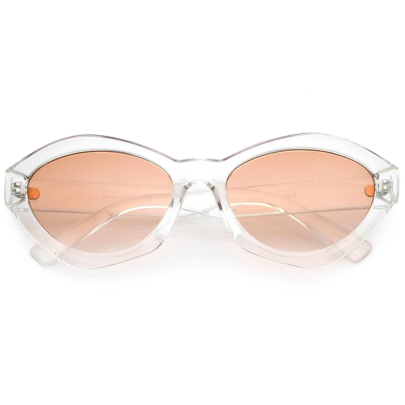 77838cb9734 Modern Chunky Neutral Colored Cat Eye Sunglasses Oval Flat Lens 56mm  frame   sunglass