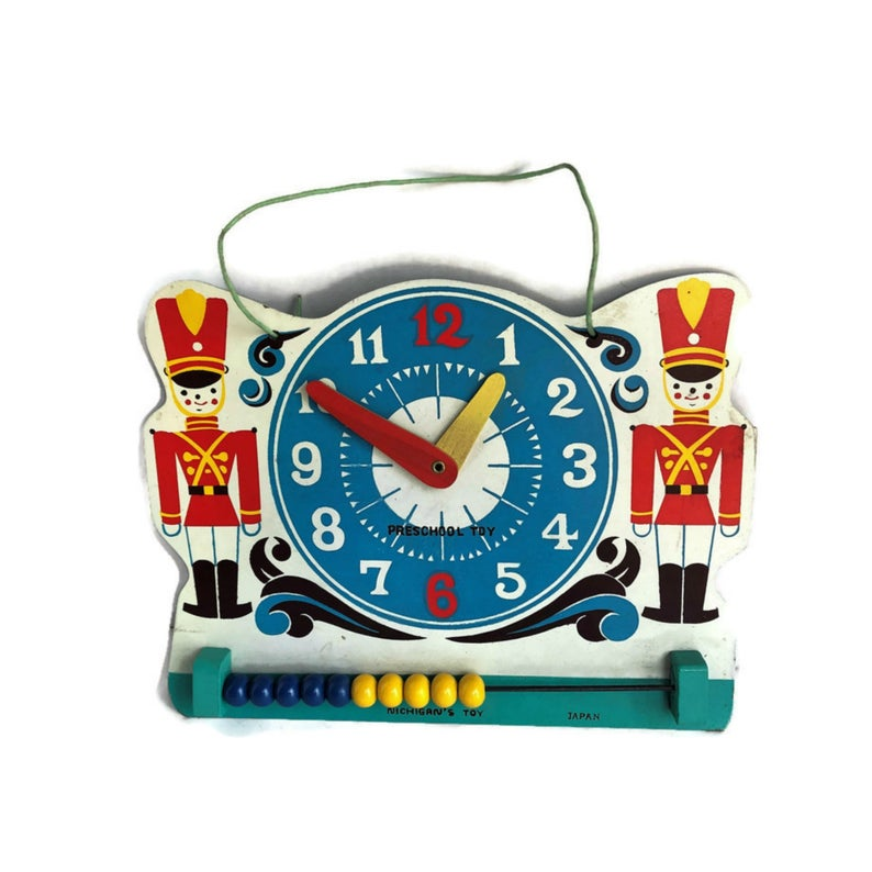 Vintage Learn Time & Count Clock Educational Preschool ...