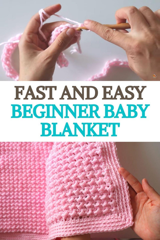Fast And Easy Beginner Baby Blanket Easy Crochet Baby Blanket Crochet Baby Shoes Pattern Crochet
