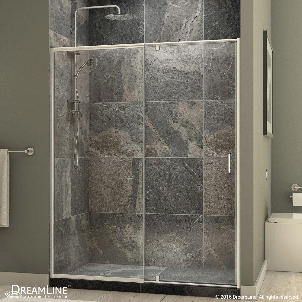 Flex 56 60 In W X 72 In H Semi Frameless Pivot Shower Door Shower Doors Dreamline Framed Shower Door