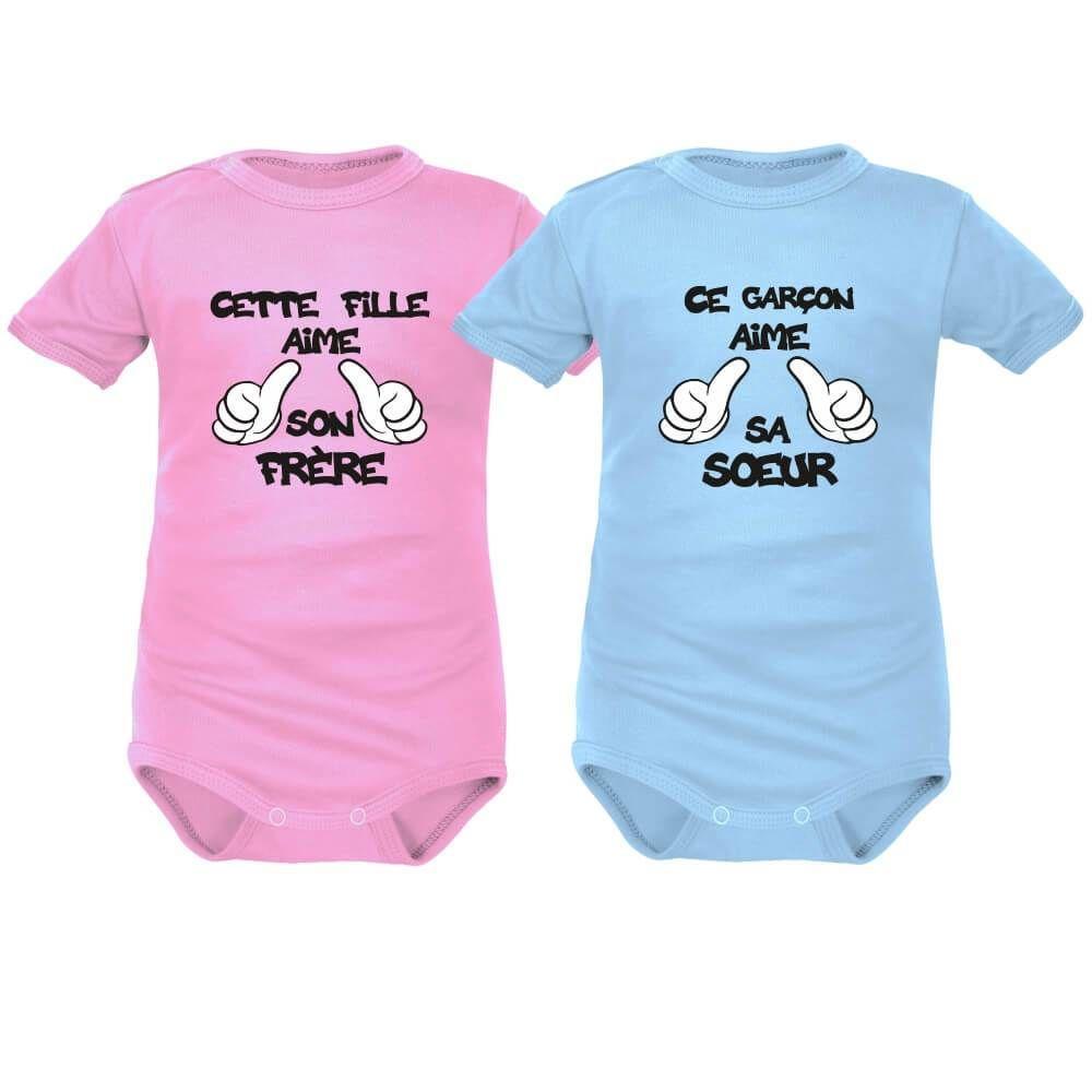 8fce91b656f45 2 bodies bébé jumeaux : cette FILLE / ce GARÇON aime son FRÈRE / sa ...