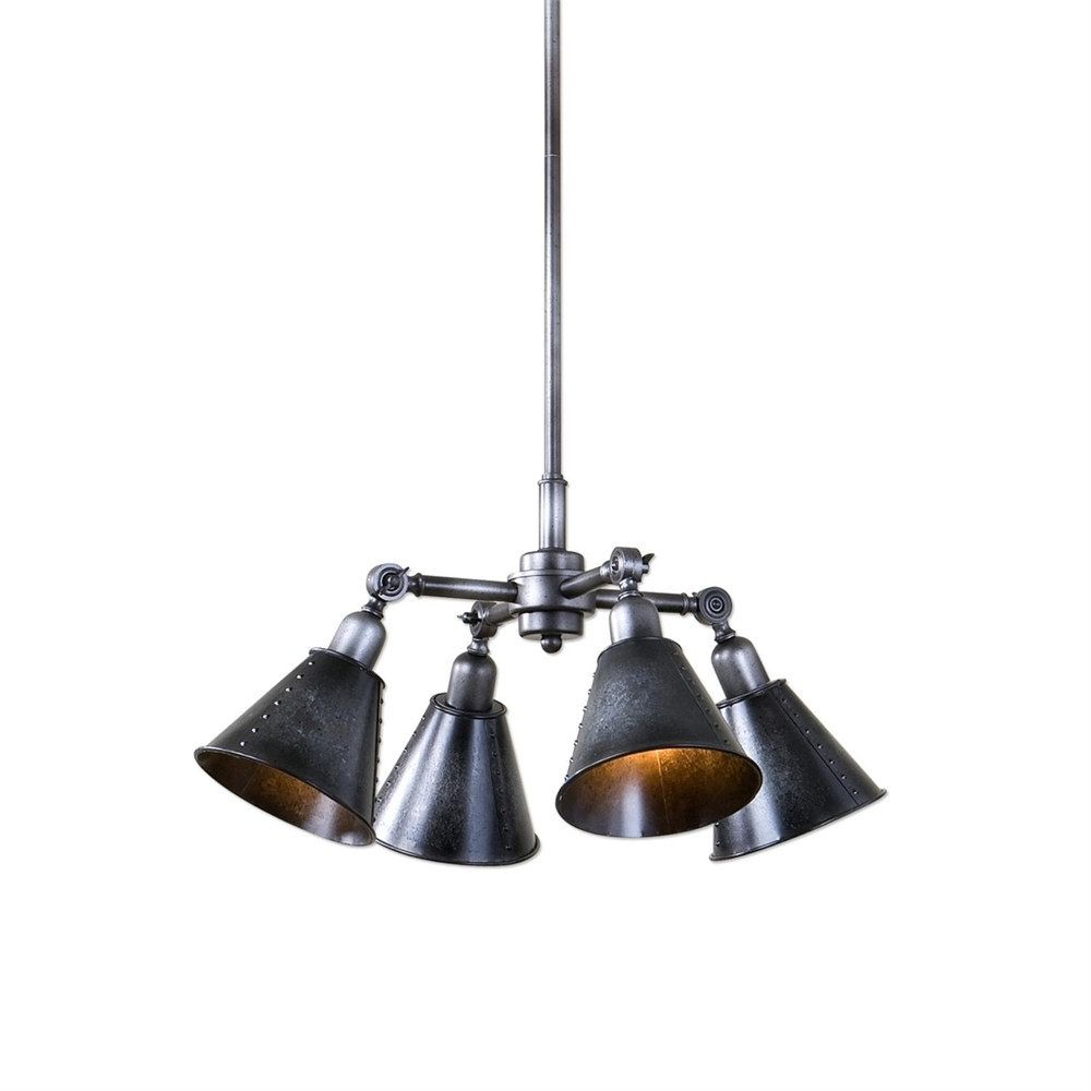 20 galvanized finish industrial inspired hanging pendant ceiling light fixture overstock com shopping the best deals on chandeliers pendants