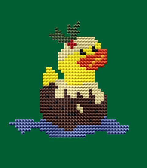 Cross Stitch Kit  Christmas pudding rubber duck by FredSpools
