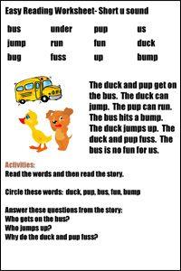Easy Reading Worksheets | Reading worksheets, Beginning ...