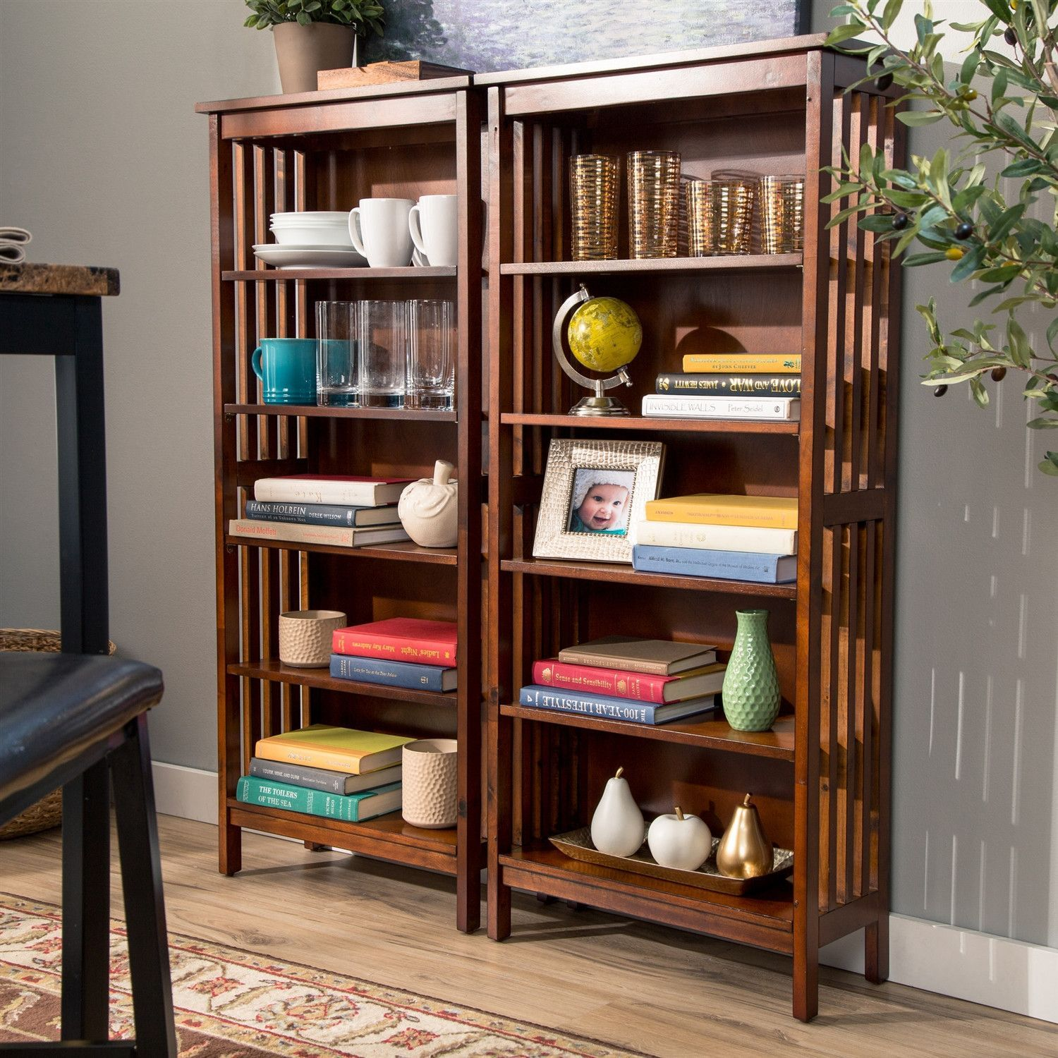Durable 48-inch High Bookcase with 5-Shelves in Antique Oak Finish