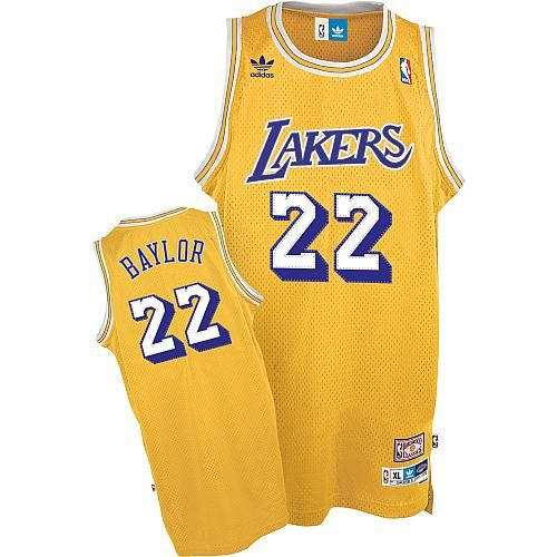 42fdfa20c94 Lakers  22 Elgin Baylor Gold adidas Hardwood Classics Swingman Stitched NBA  Jersey