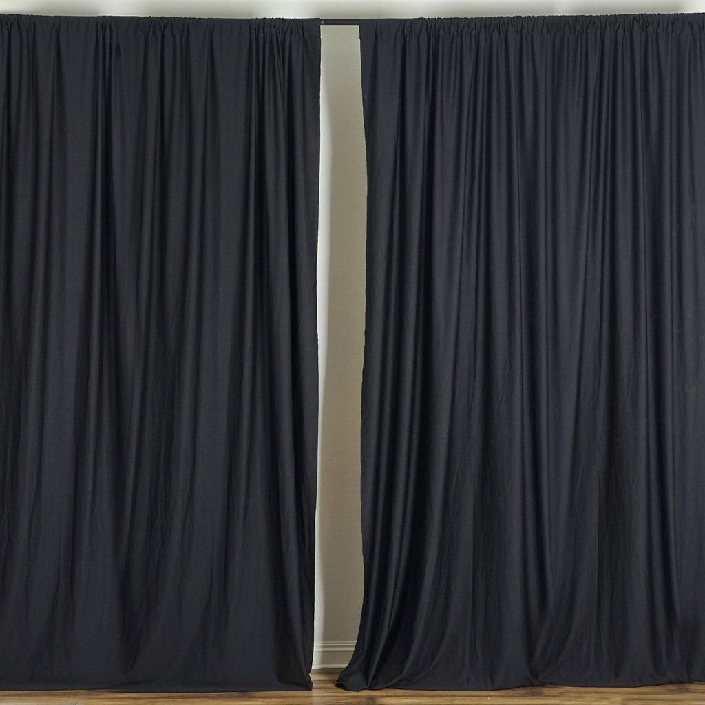 Pack Of 2 5ftx10ft Black Fire Retardant Polyester Curtain Panel Backdrops With Rod Pockets Curtains Smooth Linen Wide Curtains