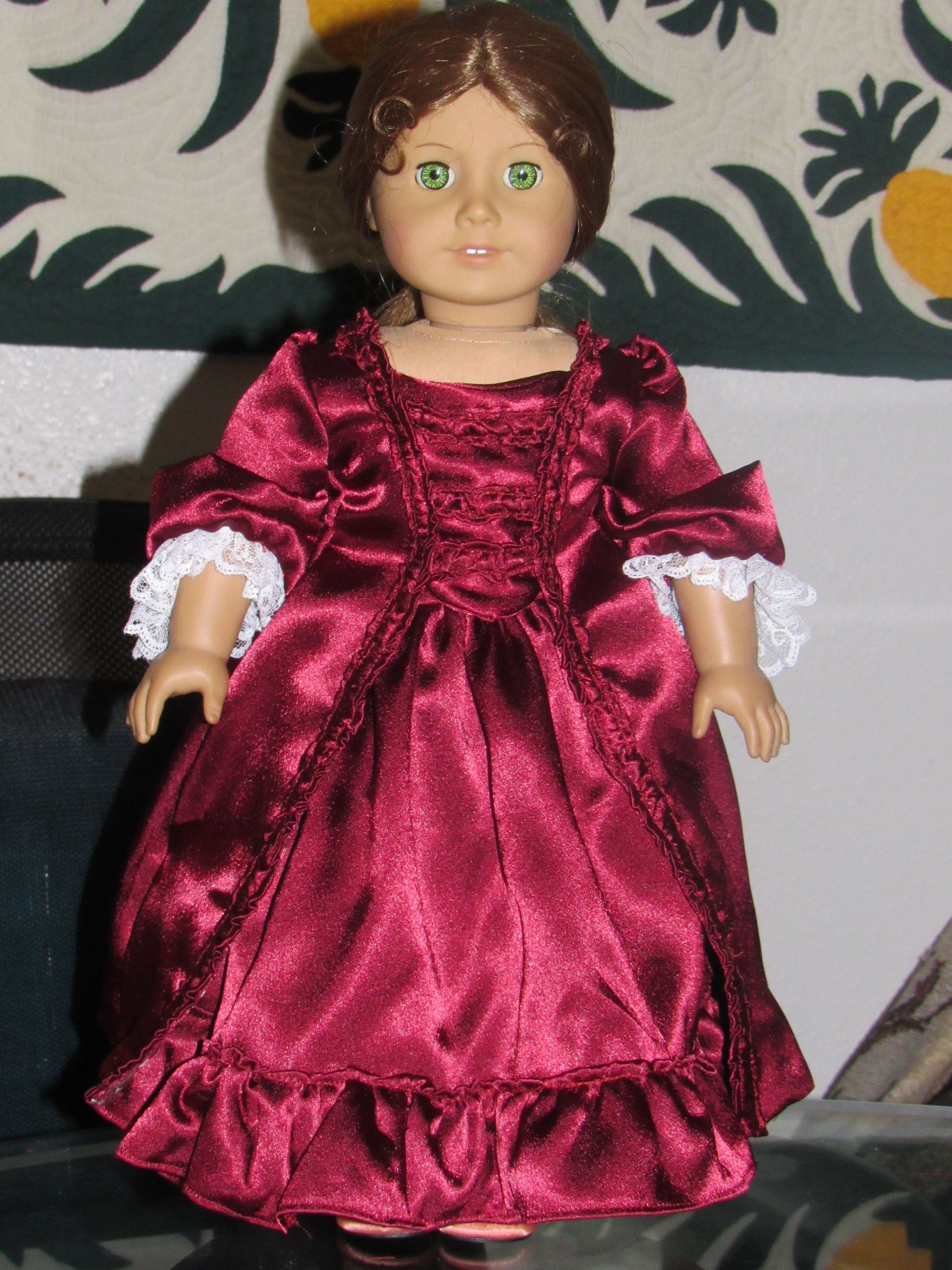 1770s Colonial Christmas Holiday Sacque Back Gown Dress for American Girl Felicity Elizabeth 18 inch doll #colonialdolldresses