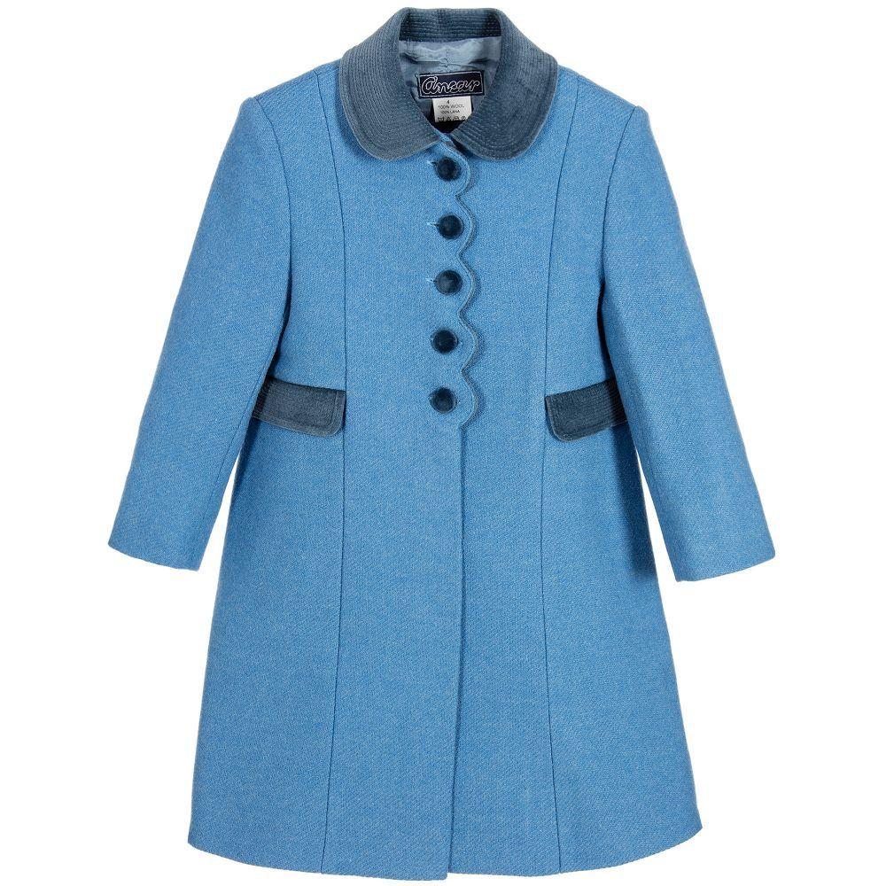 Ancar girls blue wool coat girls red coat gray wool