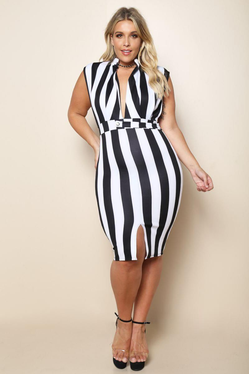 43aa647257c Deep V Plus Size Bodycon Dress Dresses+ GS-LOVE