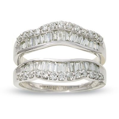 T W Round And Baguette Diamond Wrap Guard In 14k White Gold