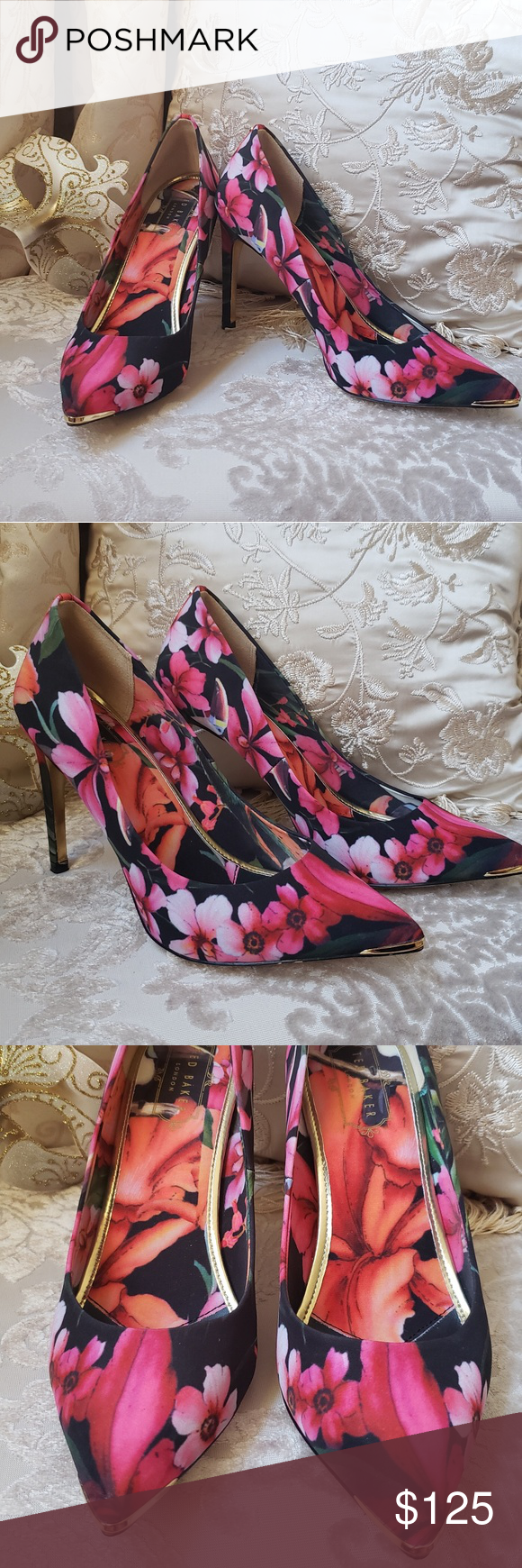 c6650b2ef0dfc7 Ted Baker- Hawaiian Heels Ted Baker London Hawaiian Print Heels. These are  absolutely stunning
