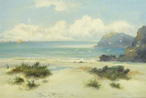 William Langley (1852-1922) oil on canvas, beach scene at Newquay