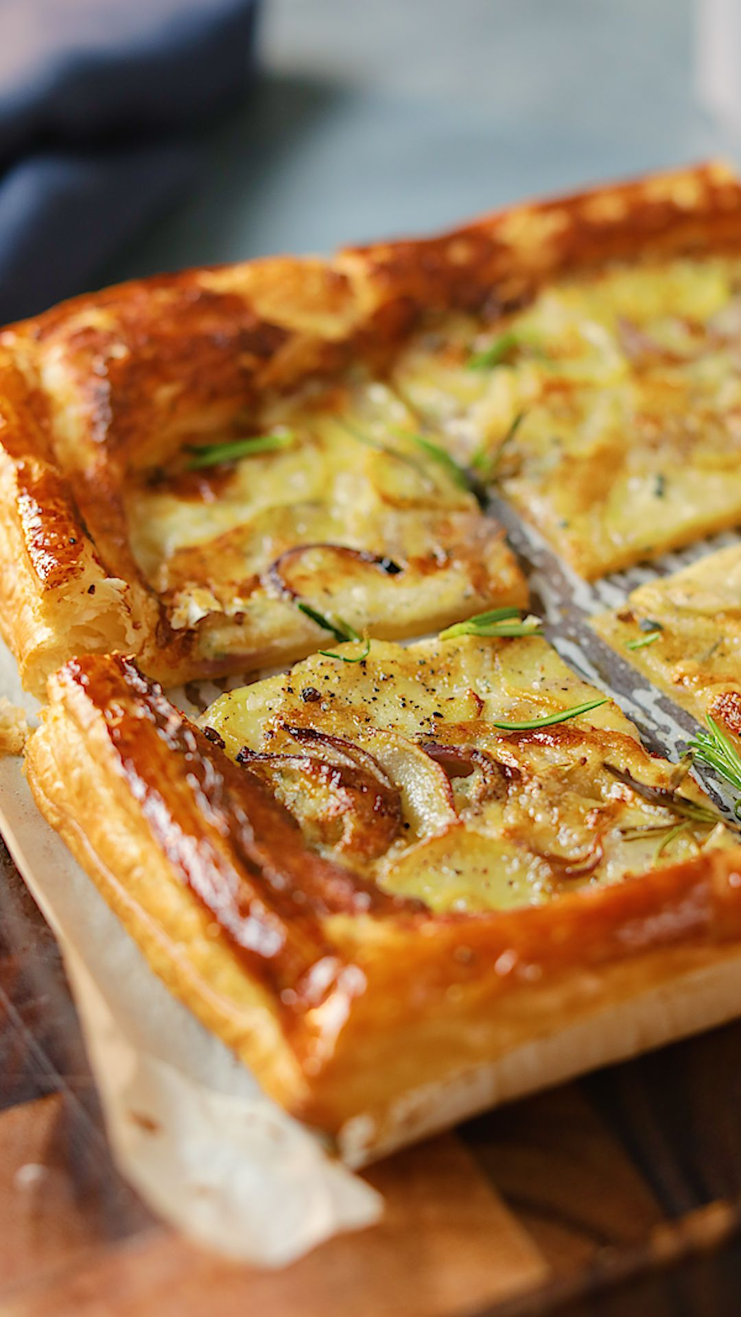 Potato Gorgonzola Rosemary Puff Pastry Tart