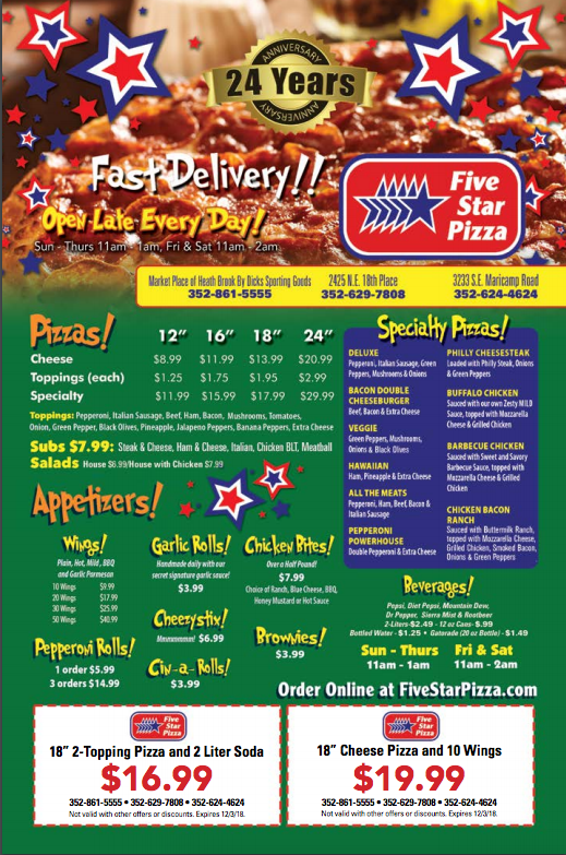 Five Star Pizza Daily Food Coupons Star Pizza Pizza Pizza Cake