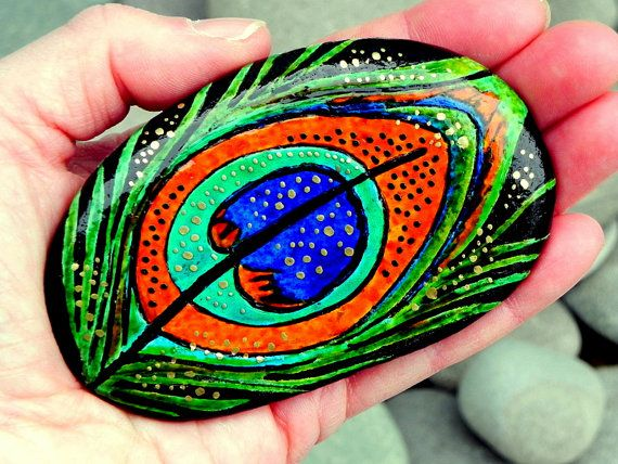 Enchanted Peacock / painted rock / Sandi Pike by LoveFromCapeCod