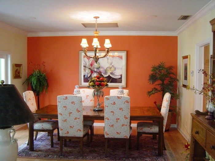 Wall Color Ideas Planting Orange Dining Room Accent