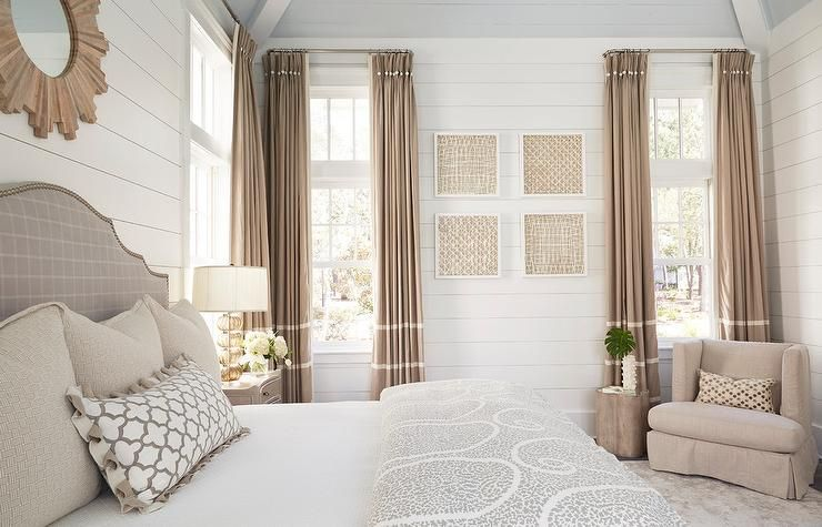 Beige French Pleat Curtains Hang From Windows Positioned On Either Side Of Beige Abstract Art Hung Fro Beige Curtains Beige Curtains Living Room Taupe Curtains