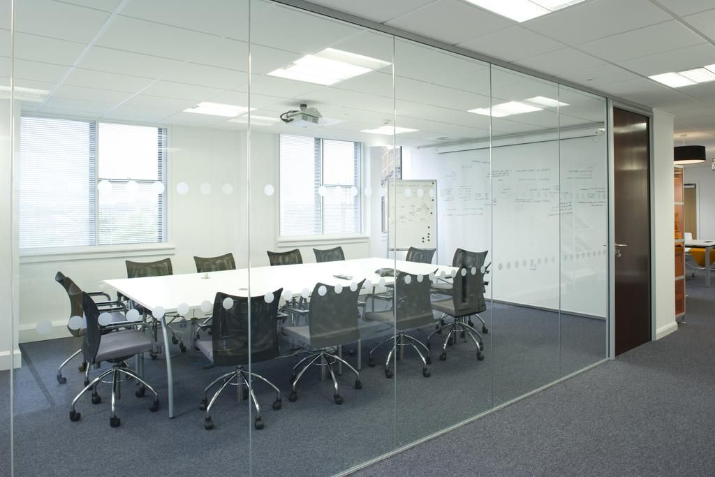 With grey walls though glass conference room locations for Office design glass