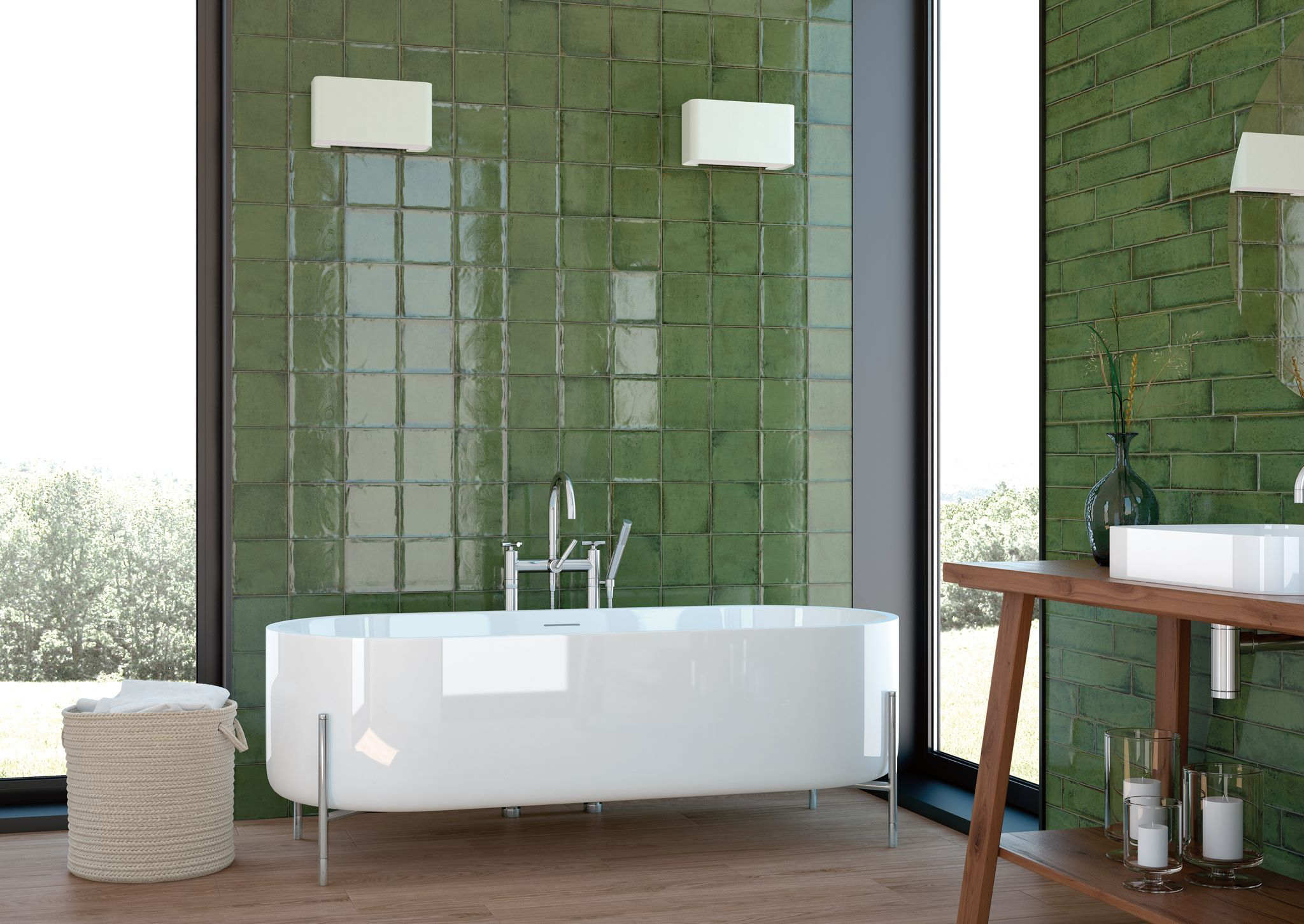 Vintage green bathroom with alchimia olive wall tiles from cifre