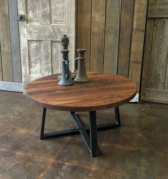 Reclaimed Wood Industrial Round Coffee Table: Round Coffee Table / Industrial Reclaimed Wood And Steel