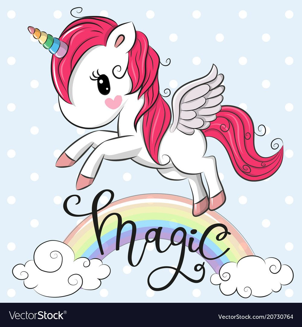Cartoon Unicorn Is Flying Under The Rainbow Vector Image On