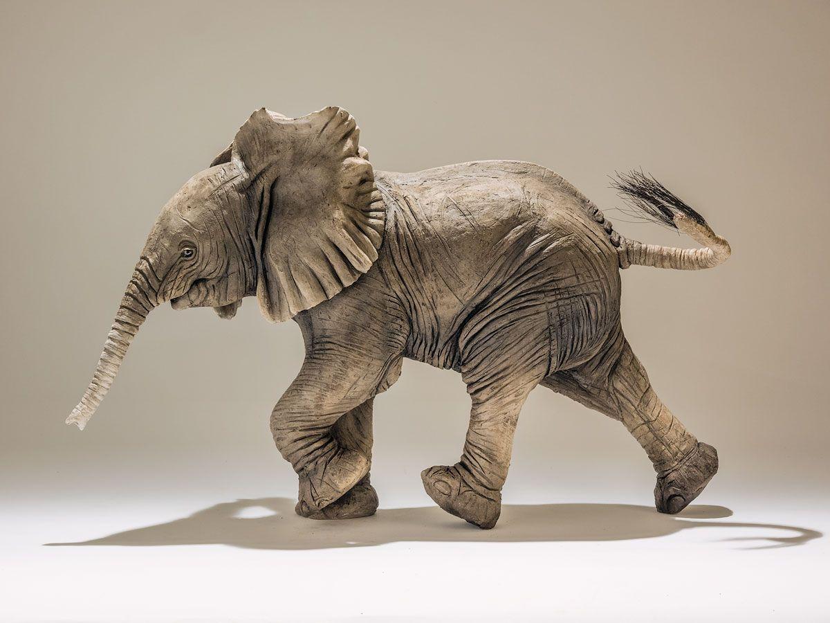 Baby Elephant Sculptures - Nick Mackman Animal Sculpture
