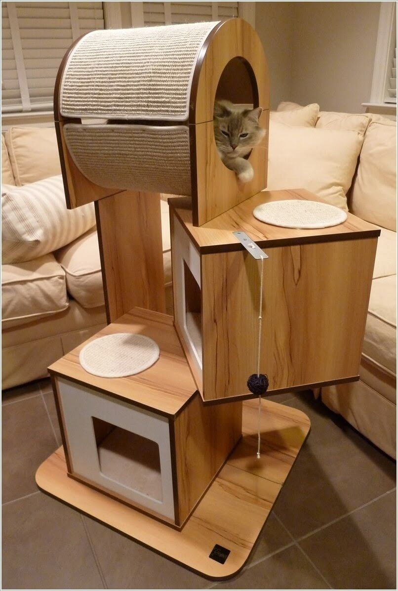 cool cat tree furniture ribbon fun cat tree with cubbies and play tunnel cool trees cats